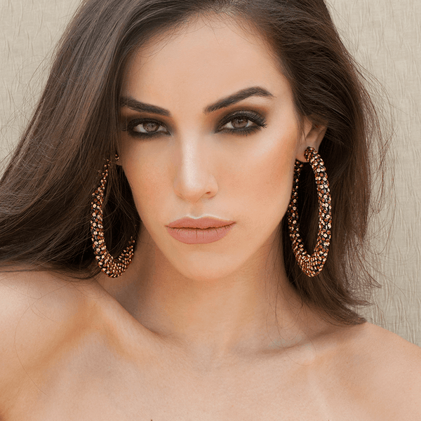 Hoop Earrings made of Swarovski Crystals, Rhodium Plated named Sparkly Crescent Topaz - photo of jewelry with model