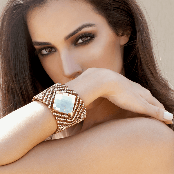 Cuff Bracelet made of Swarovski Crystals, Rhodium Plated, Leather named The Sparkle - photo of jewelry with model