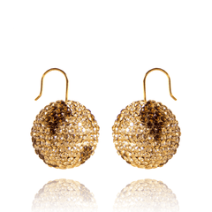 Drop Earrings made of Yellow Gold Plated Sterling Silver, Swarovski Crystals named Sand Spheres - photo with jewelry only
