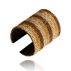 Cuff Bracelet made of Swarovski Crystals, Rhodium Plated, Leather named Sand Stripes - photo with jewelry only