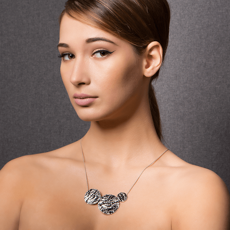Pendant Necklace made of Sterling Silver, Black Enamel named Lava Drops Cold - photo of jewelry with model