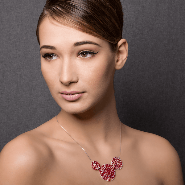 Pendant Necklace made of Sterling Silver, Red Enamel named Lava Drops Hot - photo of jewelry with model