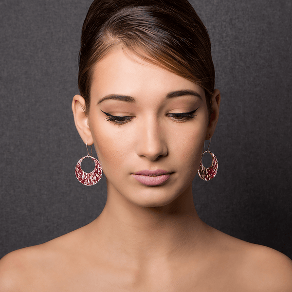 Dangle Earrings made of Sterling Silver, Red Enamel named Lava Falls Hot - photo of jewelry with model
