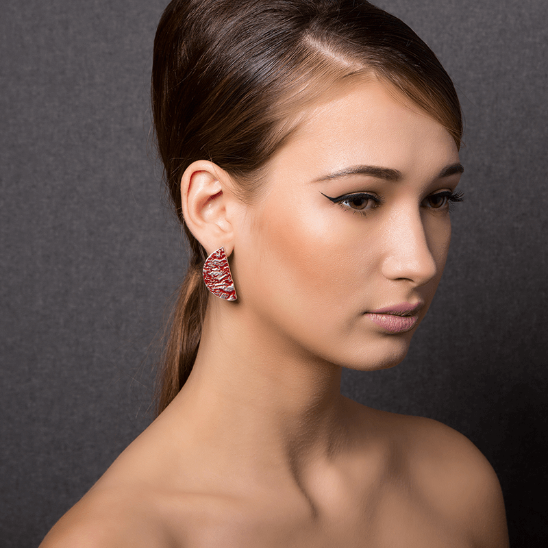 Drop Earrings made of Sterling Silver, Red Enamel named Volcano Hot - photo of jewelry with model