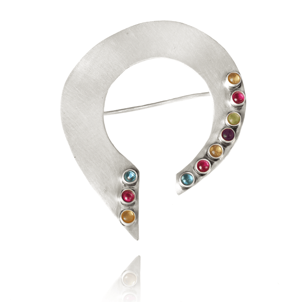Fashion Brooch made of Sterling Silver, Blue Topaz, Yellow Citrine, Red Ruby, Green Peridote, Purple Amethyst named Silver Rainbow - photo with jewelry only