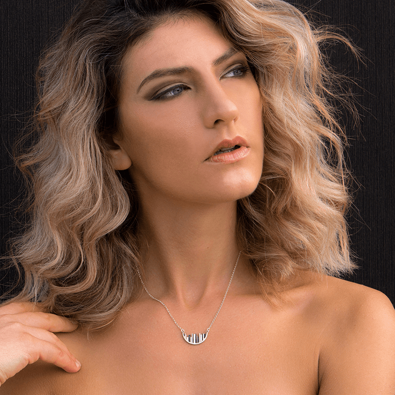 Pendant Necklace made of Sterling Silver named Skyline View - photo of jewelry with model