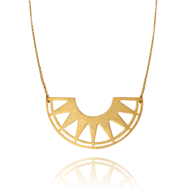 Pendant Necklace made of Yellow Gold Plated Sterling Silver named The Sol Pendant - photo with jewelry only