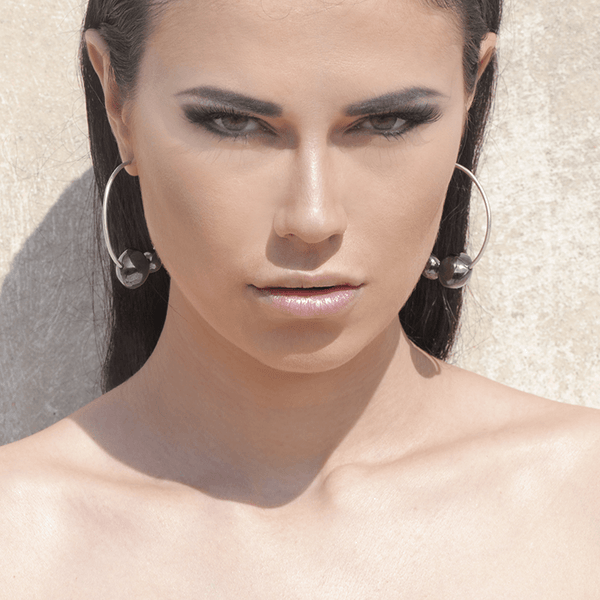 Hoop Earrings made of Rhodium Plated Sterling Silver named Celestial Orbs Dark - photo of jewelry with model