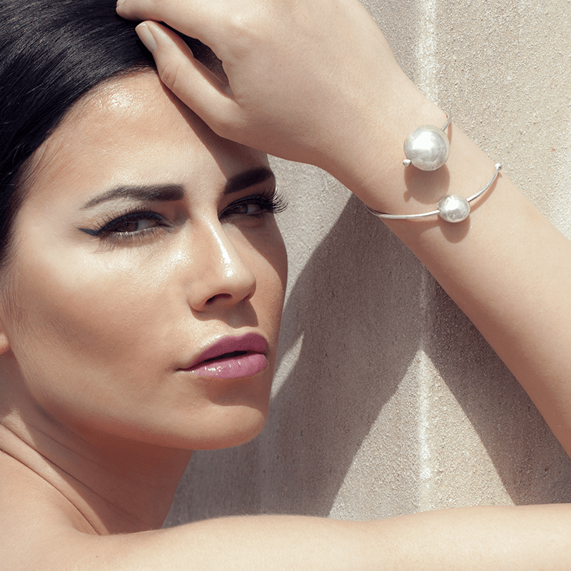 Cuff Bracelet made of Sterling Silver named Spiral Galaxy Light - photo of jewelry with model