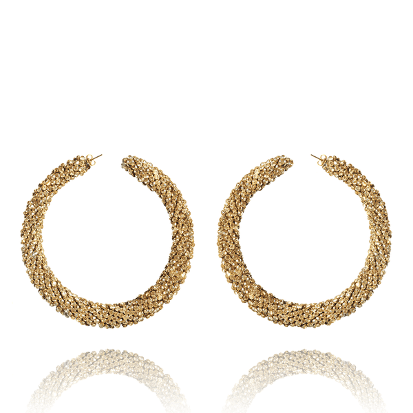 Hoop Earrings made of Swarovski Crystals, Rhodium Plated named Sparkly Crescent Gold - photo with jewelry only