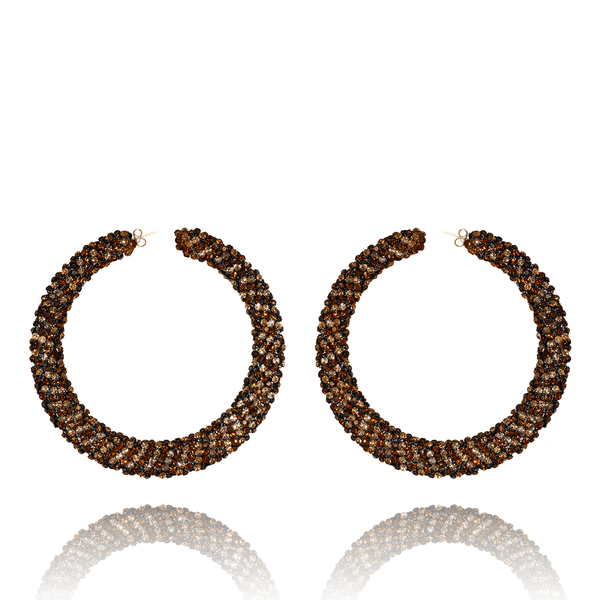 Hoop Earrings made of Swarovski Crystals, Rhodium Plated named Sparkly Crescent Topaz - photo with jewelry only