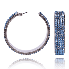 Hoop Earrings made of Swarovski Crystals, Rhodium Plated named Summer Breeze Aqua - photo with jewelry only