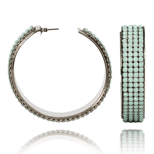Hoop Earrings made of Swarovski Crystals, Rhodium Plated named Summer Breeze Mint - photo with jewelry only