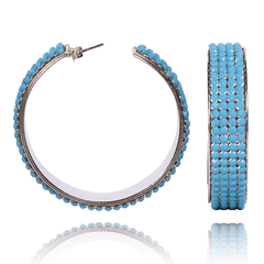 Hoop Earrings made of Swarovski Crystals, Rhodium Plated named Summer Breeze Ocean - photo with jewelry only