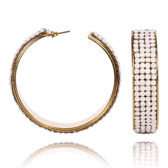 Hoop Earrings made of Swarovski Crystals, Rhodium Plated named Summer Breeze White - photo with jewelry only