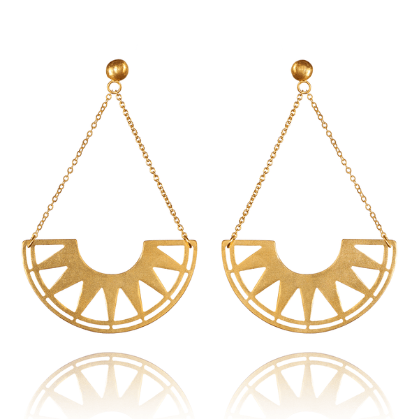 Dangle Earrings made of Yellow Gold Plated Sterling Silver named Swing - photo with jewelry only