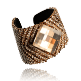 Cuff Bracelet made of Swarovski Crystals, Rhodium Plated, Leather named The Sparkle - photo with jewelry only