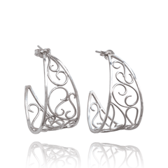 Dangle Earrings made of Sterling Silver named Twists & Swirls - photo with jewelry only