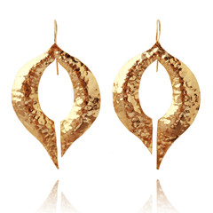 Dangle Earrings made of Yellow Gold Plated Sterling Silver named Venus Kiss - photo with jewelry only
