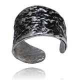 Fashion Ring made of Sterling Silver, Black Enamel named Volcano Ring Cold - photo with jewelry only