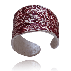 Fashion Ring made of Sterling Silver, Red Enamel named Volcano Ring Hot - photo with jewelry only