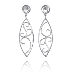Dangle Earrings made of Sterling Silver named Wire Scrolls - photo with jewelry only