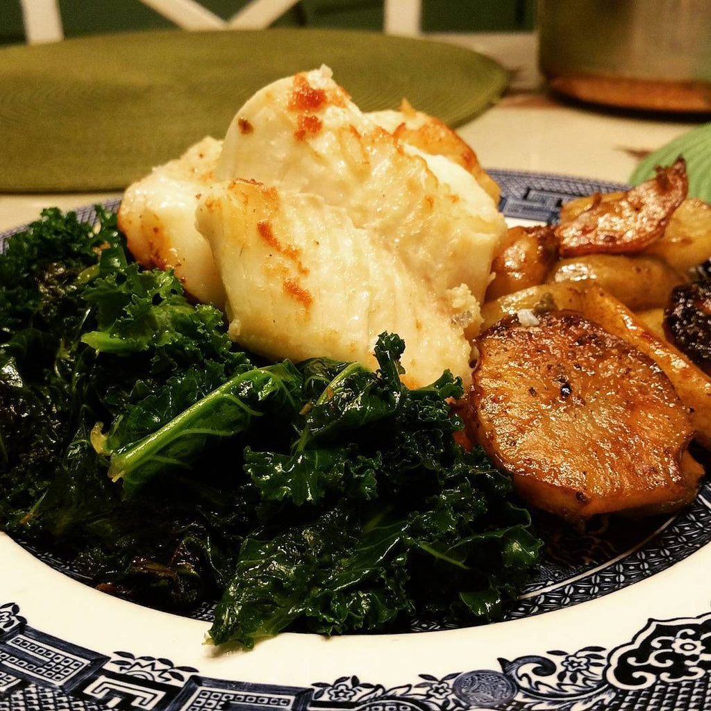 Cod Steak with Frizzled Kale and Jerusalem Artichokes
