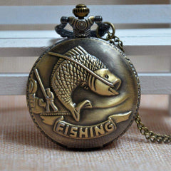 Rare Bronze Retro Fishing Angling Quartz Pocket Watch Necklace Pendant