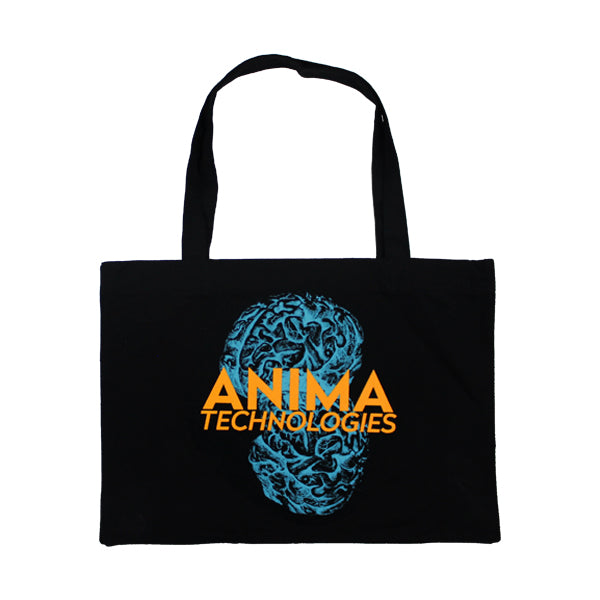 BLUE BRAINS BLACK TOTE BAG