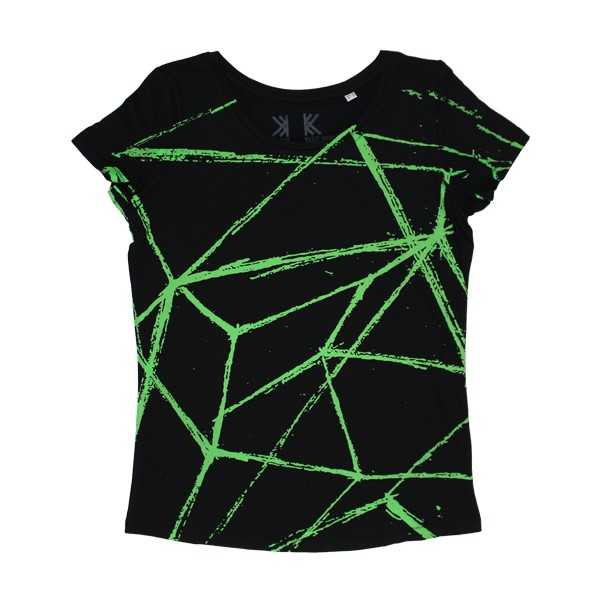 ALL OVER GREEN LINES GIRLS BLACK SCOOP T-SHIRT