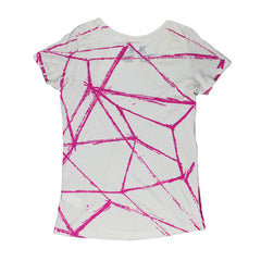 ALL OVER PINK LINES GIRLS SCOOP T-SHIRT