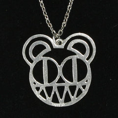 PEWTER BEAR HEAD PENDANT WITH SILVER PLATED CHAIN