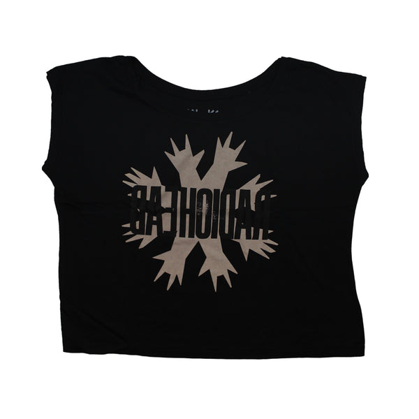CUT HANDS WOMENS CROPPED BLACK T-SHIRT