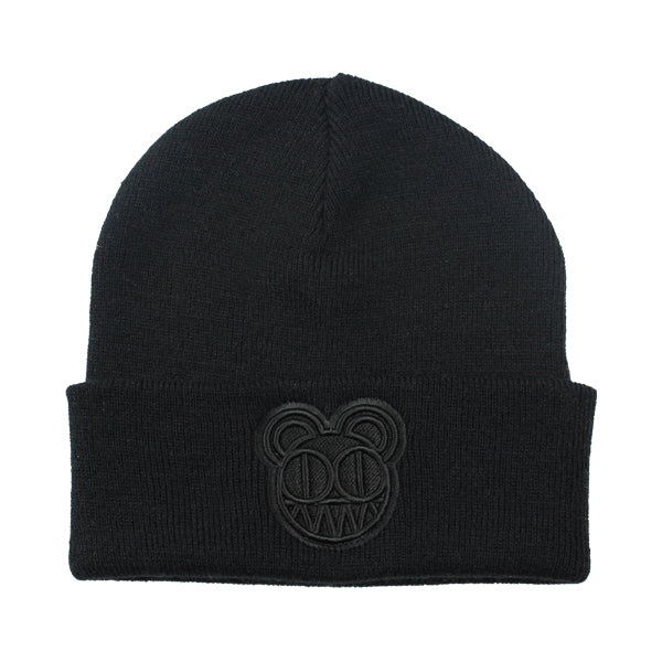 EMBROIDERED BEARHEAD BLACK BEANIE