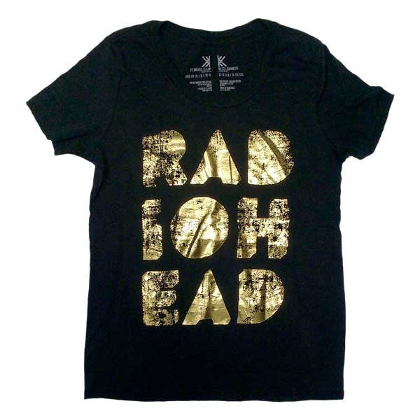 LADIES GOLD FOIL BLACK T-SHIRT