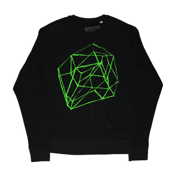 LINE DRAWING GREEN PRINTED SWEATSHIRT