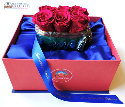 BDR-PR - Emerald Bed of Preserved Roses - Blue Dreams USA Boutique