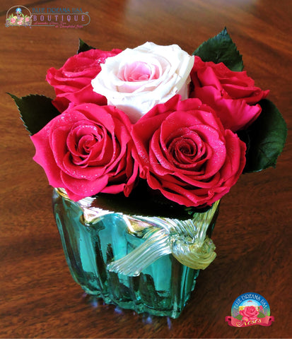 BDR-PR - Emerald Glittering Hope Preserved Roses - Blue Dreams USA Boutique