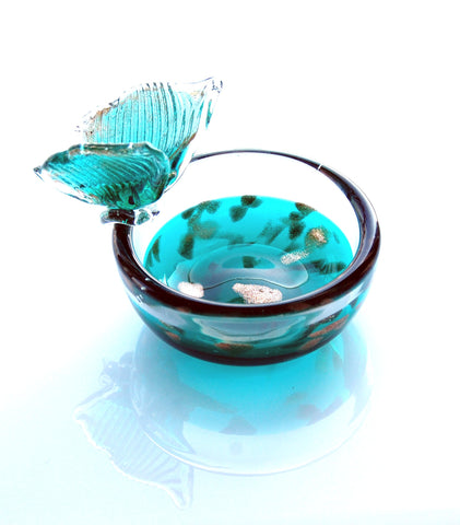 TG-HB-Fairy Teal Wings Soap, Jewelry or Candle Dish - Blue Dreams USA Boutique