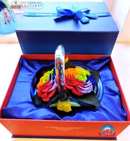 Double Rainbow Preserved Roses set comes in our very own exclusively designed hand-blown glass basket with rose design on the side