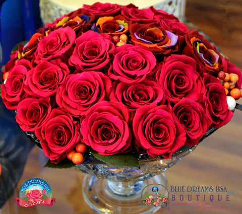 BDR-PR - Three Dozen Roses - Blue Dreams USA Boutique