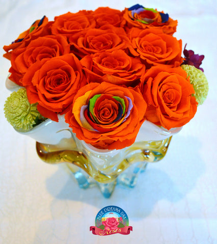 BDR-PR - Orange Sunshine Preserved Roses - Blue Dreams USA Boutique