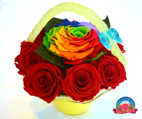 BDR-PR - Rainbow and Red Roses in Blue Hand-blown Glass Basket