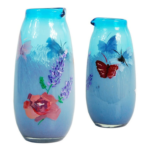 TG-HB-Azure Lavender & Rose Garden Pitcher Vase - Blue Dreams USA Boutique