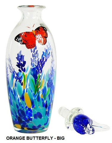 TG-HB-Perching Bird Glass Flasks with Hand-painted Lavender & Orange Butterfly - Blue Dreams USA Boutique
