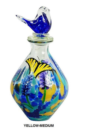 TG-HB-Perching Bird Glass Flasks with Hand-painted Lavender & Yellow Butterfly - Blue Dreams USA Boutique