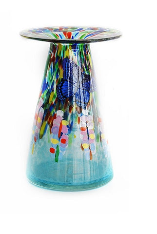 TG-HB-Blue Fortune Flowers & Sapphire Butterfly Glass Vase - Blue Dreams USA Boutique