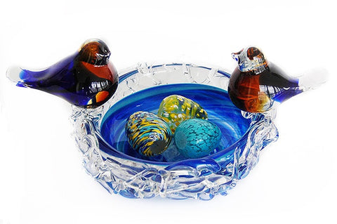 TG-HB-Blue Bird Delight Hand Blown Glass Decor - Blue Dreams USA Boutique