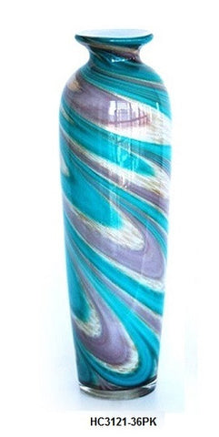 TG-HB-Swirl of Purple and Blue Hues Glass Vase (HC3121-36PK) - Blue Dreams USA Boutique