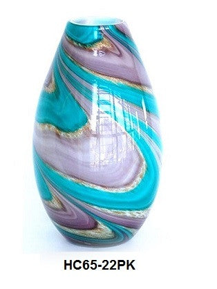 TG-HB-Swirl of Purple and Blue Hues Glass Vase (HC65-22PK) - Blue Dreams USA Boutique